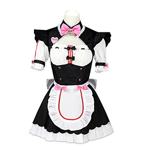 FangjunxianST Nekopara Catgirl Maid Cosplay Costume Lolita Dress Halloween Uniform Suit (Large, Pink Chocola) -