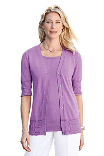 (Chadwicks Pointelle Trim Twinset Violet)