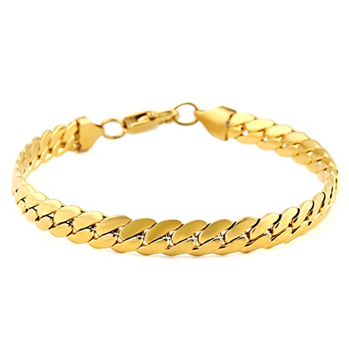 HZMAN Classic Mens Bracelet 316L Stainless Steel Cuban Curb Chain Silver Gold Black 3 Color, 8mm Length 8.5 Inches (Gold) ()