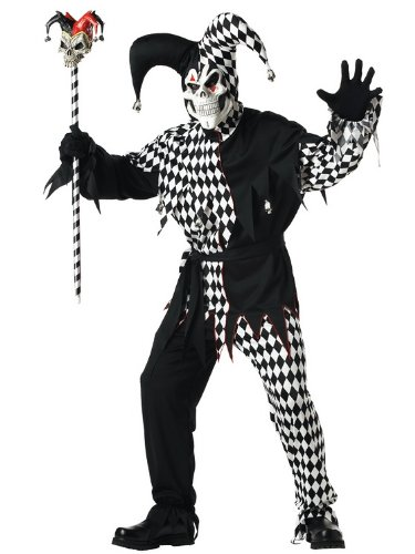 Jester Halloween Costumes Adults (California Costumes Men's Adult- Black Evil Jester, Black/White, XL (44-46))