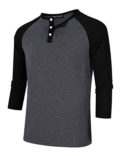 Men Crew Neck 3/4 Sleeve Raglan Baseball Jersey Henley T Shirt (XL, (Baseball Henley Shirt)