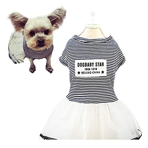 Petea Cute Pet Dress Stripe Tutu Gauze Dog Dress Vest Apparel Skirt Clothes Pet Puppy Birthday Princess Dress Clothes for Dogs and Cats
