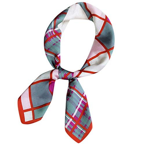 Womens Multi-function Lightweight Scarf Rayon Strips Dots Lattice Printed Square Neck Scarf Hair Wrap