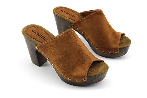 Modelisa - Sandalias Destanoladas Tacon Mujer Cuero