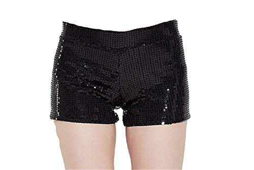 Gele Women Sexy Club Wear Metallic Booty Shorts Hot Glitter Sequin Shorts (X-Small, Black) ()