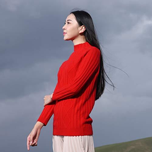 Largo Rojo Alto Color Cuello Cachemira Suéter Ursfur Retro Sólido De q0EwzR