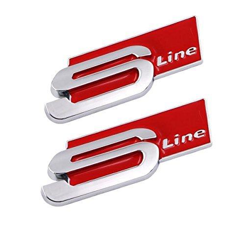 TK-KLZ 2Pcs 3D Metal S Line Car Side Fender Rear Trunk Emblem Badge Decals for ALL Model Audi S Line S3 S4 S5 S6 S7 S8 A1 A3 RS3 A4 A5 A6 A7 RS7 A8 Q3 Q5 Q7 R8 TT (Red)