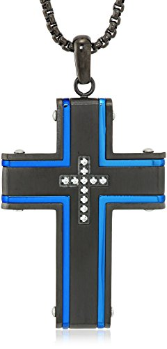 Men's Stainless Steel Cross Cubic Zirconia Pendant with Blue and Black IP Pendant Necklace, 24