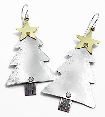 Christmas Tree Earrings, Sterling Silver Christmas Jewelry, Mixed Metal Dangle Earrings