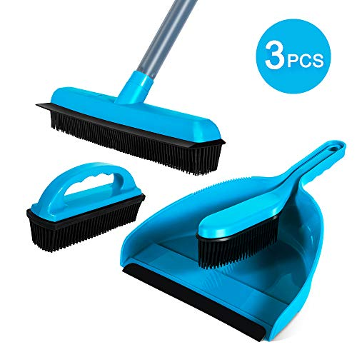 (Rubber Brush Broom Dustpan Set 3 PCS Cleaning Sets Soft Bristle Brush For Multi-Surface Pet Hair Removal Masthome)