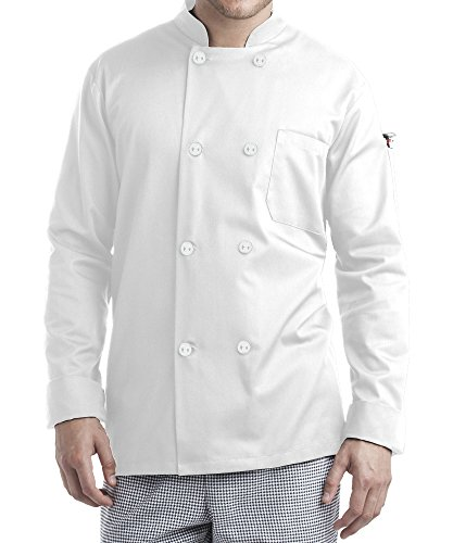 ChefUniforms.com Men's Long Sleeve Chef Coat (XS-5X, 2 Colors) (Large, White) by ChefUniforms.com