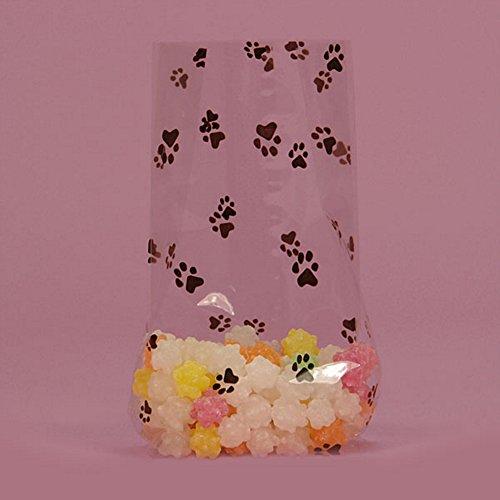 Paw Prints Clear Cello Bags - 9in. X 4in. X 2in. (20) (Puppy Gift Basket Dog)