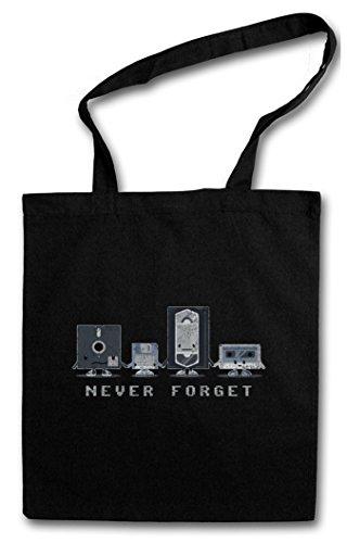 NEVER FORGET HIPSTER BAG – Dischetto Floppy Disk Videocassetta Retro Media VHS Video Cassette Floppy Disk Discette CD Audio Joke Comedy Nerd Hipster Indie