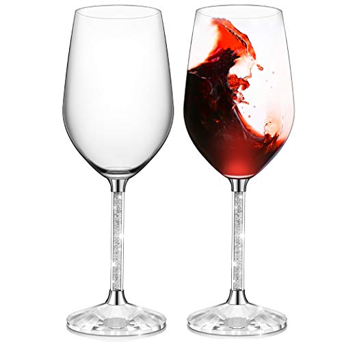 Glass Filled - IFOLAINA Red Wine Glasses Set of 2 Lead Free 12 Ounce Christmas Stemware with Long Crystal Diamond Stem -Valentine's Day, Birthday, Anniversary or Wedding Gifts