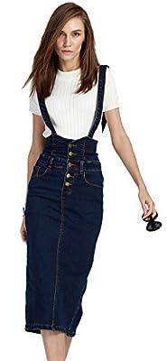 Plaid&Plain Women's Adjustable Strap Pencil Bodycon Midi Suspender Denim Skirt