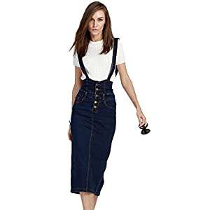 Plaid&Plain Women's Adjustable Strap Pencil Bodycon Midi Suspender Denim Skirt