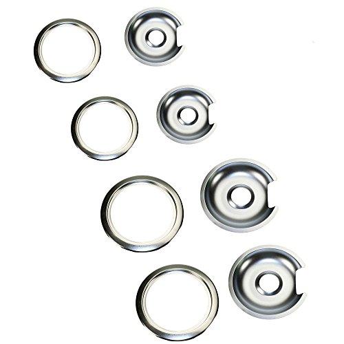Supplying Demand 1056RGE8 Chrome Drip Pan & Ring D Kit WB32X10012 WB32X10013