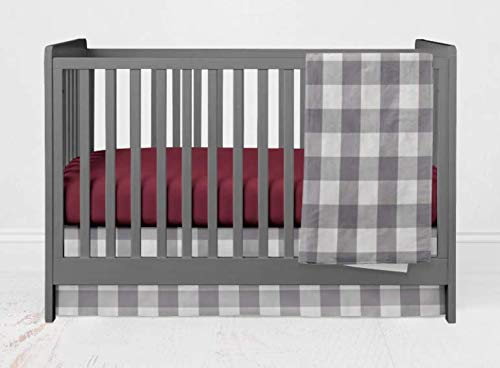 (Crib Bedding Set - 3 Piece Gray Buffalo Plaid with Burgundy Bedding Set by Twig + Bird - Handmade in America)