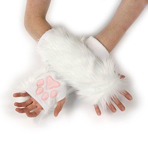 Pawstar Classic Paw Warmers Fingerless Glove Paws Furry Cat Fox Cosplay - Snowy -
