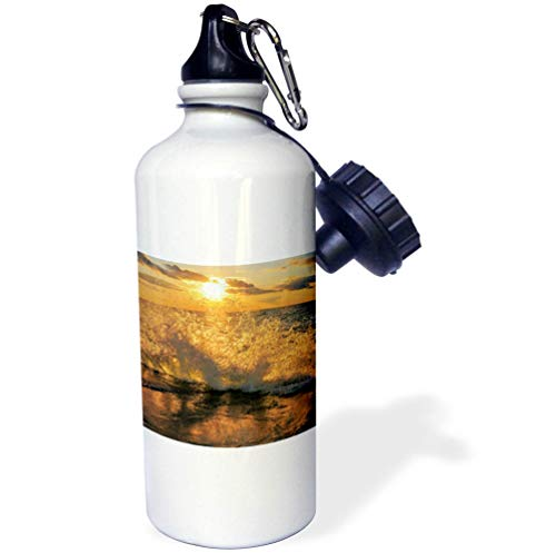 3dRose Dreamscapes by Leslie - Scenery - Sunset Through The Waves at Lake Michigan - 21 oz Sports Water Bottle (wb_292224_1) by 3dRose