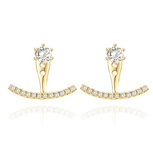 (PAVOI 14K Yellow Gold Plated Sterling Silver Post Cubic Zirconia Stud Earrings with Huggie Crawler Enhancer )