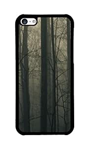 iPhone 5C Case Color Works Zing Trees Wood Mountain Black PC Hard Case For Apple iPhone 5C Phone Case