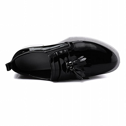 Latasa Femmes Mode Brillant Gland Plate-forme Chunky Mocassins Slip Ons Noir
