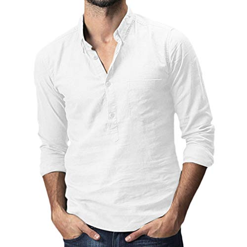 Men's Baggy Cotton Linen Solid Pocket Long Sleeve Turn-Down Collar T-Shirts Tops White