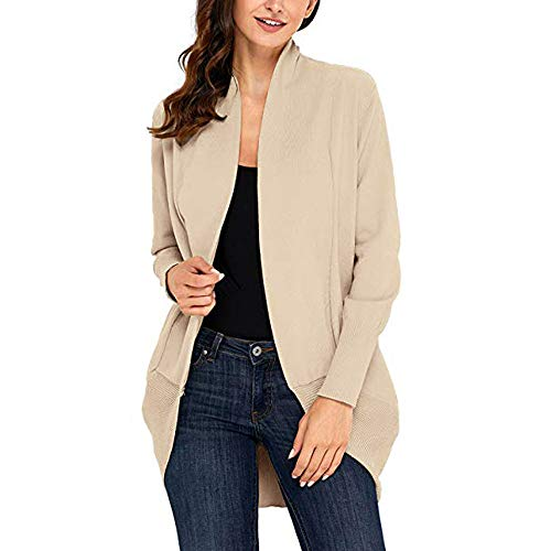 Womens Top!! JSPOYOU Long Sleeve Open Front Fly Away Cardigan Sweater Plus Loose Drape -