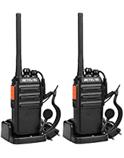 Retevis RT24 Walkie Talkie PMR446 0.5W Ricetrasmittente Licenza-Libero Lunga Distanza VOX BCL Radio Ricetrasmittenti Portatili con Auricolare (Nero,2 Pezzi)