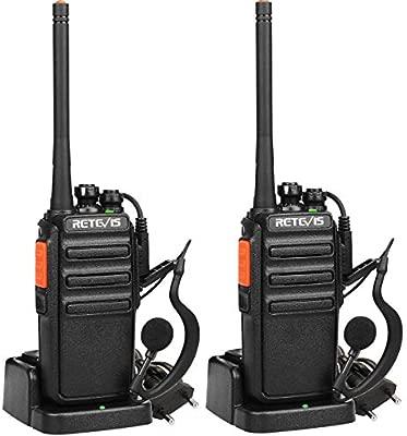 Retevis RT24 Walkie Talkie Recargable PMR446 sin Licencia 16 Canales Alcance de hasta 3 KM 50 CTCSS 210DCS Walkies Profesionales con Auriculares y ...