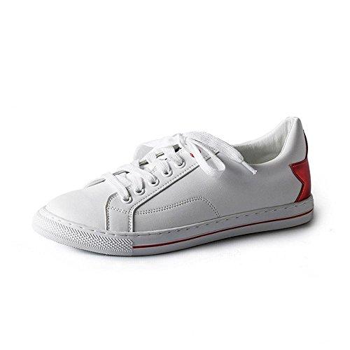 NSX PU punta redonda bajo el talón de fondo plano con cordones de los zapatos atléticos del patín Casual las zapatillas de deporte de las mujeres , red , 35 RED-36