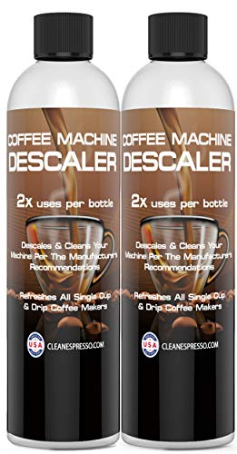 4-Use Coffee Machine Descaling Solution (2 Pack, 2 Uses Per Bottle) - Universal Descaler for All Keurig 1.0, 2.0 K-Cup Pod Machines, Single Use Drip Coffee Makers and Espresso Machines