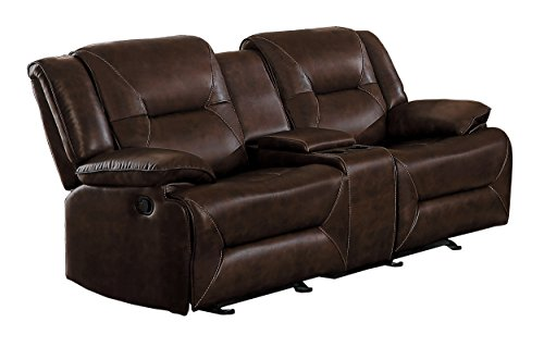 Homelegance Okello Modern Glider Reclining Loveseat with Center Cup holders Console AireHyde Breathable Faux Leather, Brown