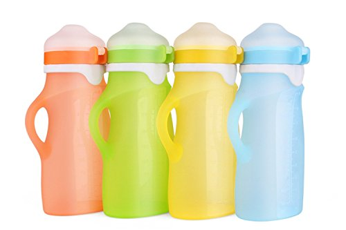 Individual Kids Reusable Squeeze Pouch – Portable and Collapsible Medical Grade Silicone Bottle for Food and Drinks - Great For Travel and Easy Feeding – 9 Ounces by Wyatt Carter Baby (Green)