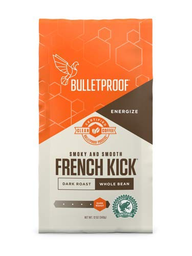 Bulletproof Coffee French Kick - Premium Gourmet Dark Roast Organic Beans, Certified Clean Coffee, Upgraded Whole Bean (12 Ounces)