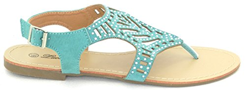 Femmes T Sangle Strass Parti Porter Gladiateur Romain Sandales Plates Chaussures Terquise