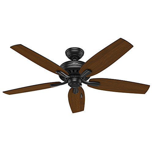 Hunter Indoor Outdoor Ceiling Fan, with pull chain control – Newsome 52 inch, Black, 53324