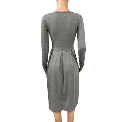 Kanpola Mode Des Femmes Robe Longue, La Longueur Du Genou De Couture Latérale Battante En Vrac Plissé Couleur Unie Occasionnels De Poche Robes Grises