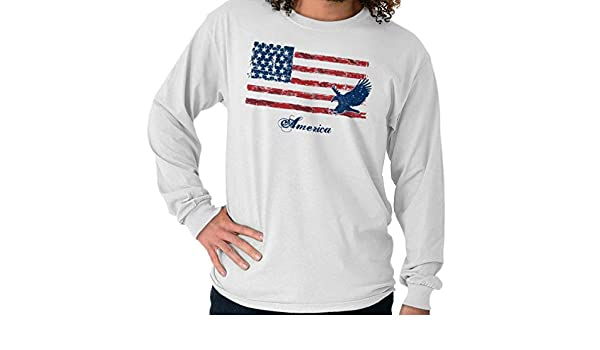 Camiseta de Manga Larga con la Bandera del Orgullo de Águila Calva de Estados Unidos - Blanco - Small: Amazon.es: Ropa y accesorios