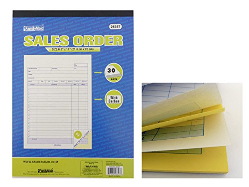 5 Pack Sales Order Invoice Book - Self Imprint, Carbon-Less (30 Sets Each, Size: 8.5'' x 11'', 2 Part Double - White & Canary)