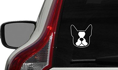 Dog Boston Terrier Head Version 2 Car Vinyl Sticker Decal Bumper Sticker for Auto Cars Trucks Windshield Custom Walls Windows Ipad Macbook Laptop Home and More (Boston Costume Stores)