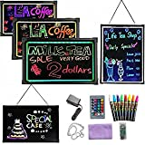 """LED Message Writing Board, 16"""" x 12"""" Flashing Illuminated Erasable Neon Effect Menu Sign Board, Kids Doodle Painting Board, L"""