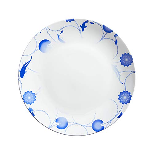 ZENS Bone China Dinner Plates,10 Inch Fine Porcelain Dinnerware, Asain Blue and White Floral Serving Platter for Pasta, Wedding Housewarming Gifts