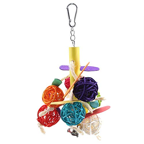Parrots Chewing Toys, Colorful Loofah Rattan Ball & Popsicle Stick with Metal Bell Toy for Budgies Cockatiel Parrots Parakeets Lovebirds African Greys Cockatoo Biting Chewing ()