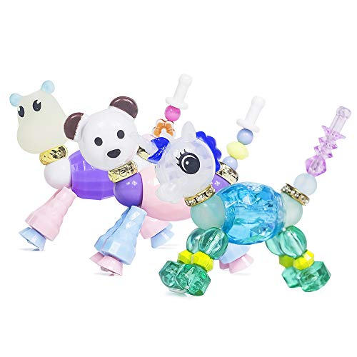 Colorful Magical Pets Bracelets Animal Bracelets Twist Bracelet for Kids Set of 3 - Panda, Unicorn and Night-Luminous Hippo - Make a Bracelet or Twist into a Pet