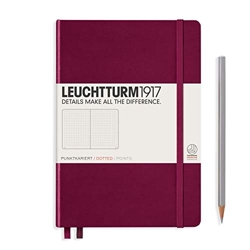 Leuchtturm1917 Medium A5 Dotted Hardcover Notebook [Port Red] - 249 Numbered Pages