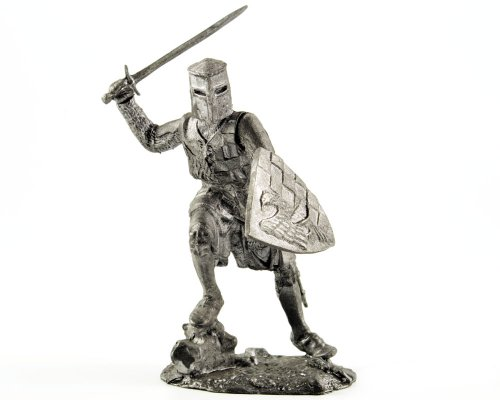 Toy soldier. Germany. Knight. 12th century. Middle ages metal sculpture. Collection 54mm (scale 1/32) miniature figurine. Tin toy soldiers ()