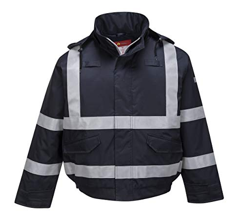 - Brite Safety Rain Flame Resistant Bomber Jacket for Men and Women - Waterproof Safety Work Coat - Ansi Class 3 (6XL, Navy)