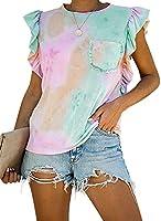 Lovezesent Womens Tie Dye Print Ruffled Summer Tank Tops T Shirt